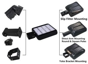 LED parking lot light brackets