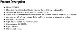 LED Tube Specifications